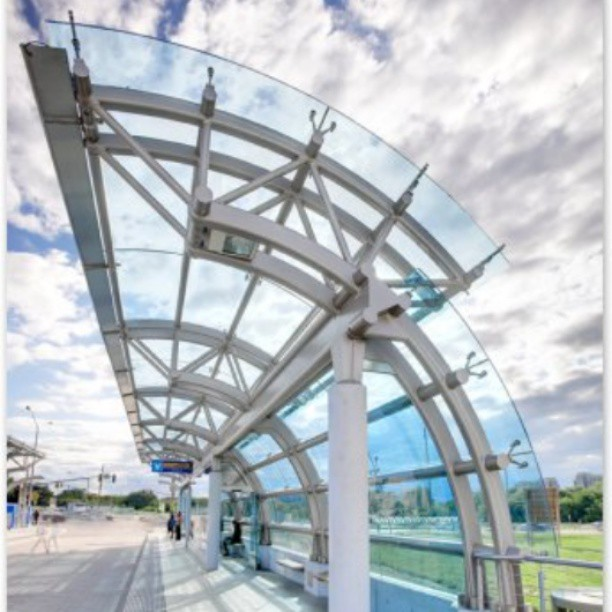 ViVa toronto bus station canopy pointFixed spiderfittings spiderclamps curve glasshellip