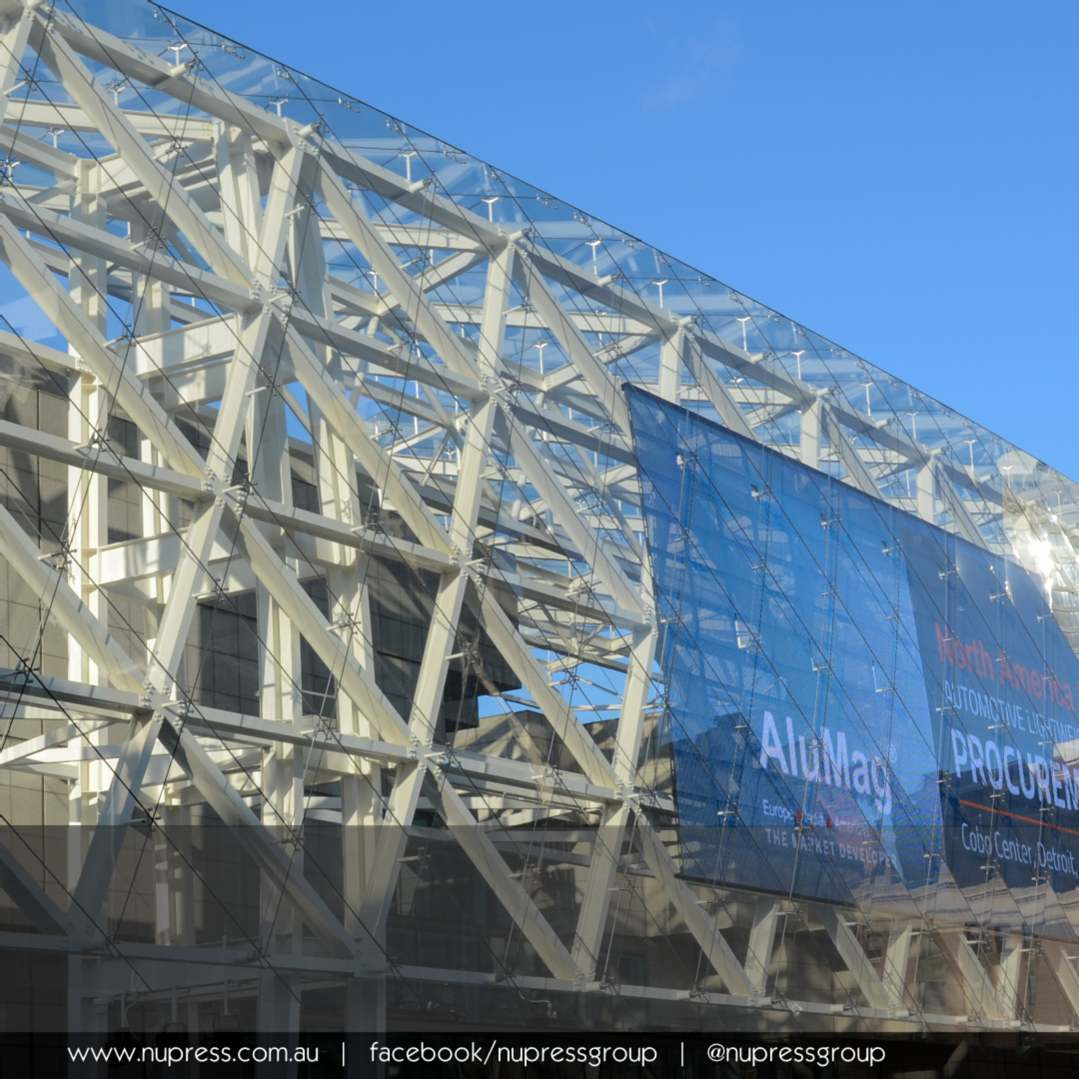 COBO Centre Media Wall cobocenter encloscorp tvsdesign tensionrods structuralglass pointsupportedglass